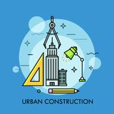 Skyscraper, ruler, pencil, lamp, compass. Skyscraper, ruler, pencil, lamp and compass. Urban design and construction, architecture, city and public space Royalty Free Stock Photos