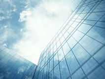 Skyscraper's blue glass wall Royalty Free Stock Photography