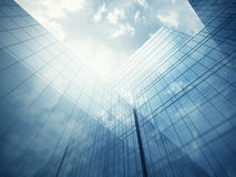 Skyscraper's exterior with blue glass walls Stock Image