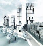 Skyscraper steel metallic city development. Illustration Stock Image