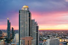 Skyscraper sunset aerial view Bangkok Stock Photos