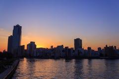 Skyscraper in Tokyo at dusk Stock Images