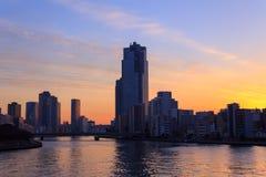 Skyscraper in Tokyo at dusk Stock Image
