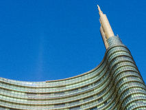 Skyscraper top in Milan. The top steeple of the Unicredit Tower, the highest building in Italy, in Milan Stock Image