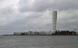 Skyscraper `Turning Torso` in Malmo. The highest building in Sweden is skyscraper `Turning Torso` in Malmo, Sweden Royalty Free Stock Images