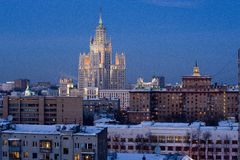 Skyscraper at twilight. View of the Moscow high-rise building in the winter twilight Royalty Free Stock Photos