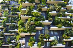 Skyscraper vertical forest in Milan Stock Photography