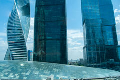Skyscraper. View of different skyscrapers over a glass dome of a trading center Stock Photo