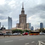 Skyscraper in Warsaw. Warsaw city centre Poland palace of culture and Stock Photo