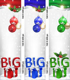 Skyscraper web Banner set for Christmas and New Year. 2017, in three colors. Contains Christmas baubles, Christmas gifts, mistletoe and celebration decoration Stock Image