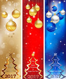 Skyscraper web Banner set for Christmas and New Year 2017 Royalty Free Stock Photos