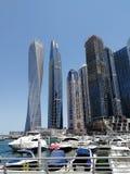 View from Dubai Marina with blue sky royalty free stock photo