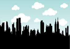 Skyscrapers. Vector silhouette of american skyscrapers Royalty Free Stock Images