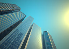 Skyscrapers. Low angle of skyscrapers  - 3d render illustration Stock Photos