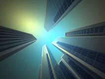 Skyscrapers. Low angle of skyscrapers  - 3d render illustration Royalty Free Stock Photos