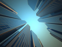 Skyscrapers. Low angle of skyscrapers  - 3d render illustration Stock Image