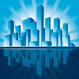 Skyscrapers. City of Skyscrapers in rays of rising Sun. Vector Illustration Stock Photography