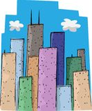 Skyscrapers. Colorful tall buildings and a blue sky in a big city Stock Image