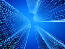 Skyscrapers. Wireframe on blue background Royalty Free Stock Image