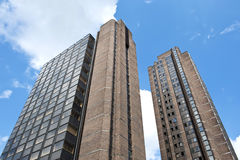 Skyscrapers. View of two modern office buildings from ground perspective Stock Images