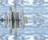 Skyscrapers. A view of a city on an islands edge vector illustration