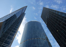 Skyscrapers. A view on a three skyscrapers above Stock Photo