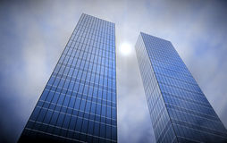 Skyscrapers. Perspective view of two skyscrapers Stock Photography