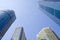 Skyscrapers. High modern office buildings,upward view Royalty Free Stock Photos