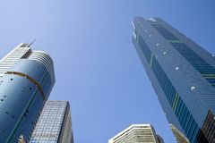 Skyscrapers. High modern office buildings,upward view Stock Images