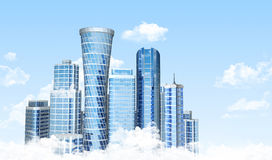 Skyscrapers. Above the clouds. 3D render Royalty Free Stock Images