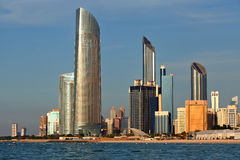 Skyscrapers in Abu Dhabi. Skyscrapers at the beach in Abu Dhabi Royalty Free Stock Photos