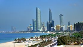 Skyscrapers of Abu Dhabi  Corniche. Corniche in Abu Dhabi, the capital of the United Arab Emirates with Burj Mohammad Bin Rashid, the tallest building in Abu Stock Photos