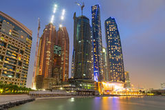 Skyscrapers of Abu Dhabi at night, UAE Royalty Free Stock Photos