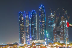 Skyscrapers in Abu Dhabi at night. United Arab Emirates Royalty Free Stock Photos