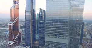 Skyscrapers Aerial View at Sunset. Moscow, Russia - Circa May 2015: Aerial view of Moscow International Business Center referred to as Moscow City. Moscow City stock footage