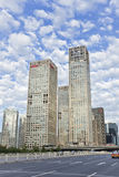 Skyscrapers against a blue sky in Beijing center, China Royalty Free Stock Images