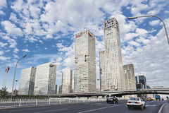 Skyscrapers against a blue sky in Beijing center, China Royalty Free Stock Photography