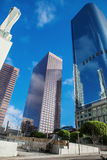 Skyscrapers against blue sky in downtown of Los stock photography