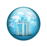 Skyscrapers with airplane. Spherical glossy button Stock Photos