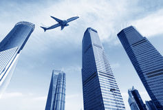 Skyscrapers and airplanes Royalty Free Stock Photo