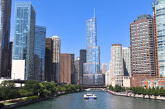 Skyscrapers along the Chicago River, Chicago Royalty Free Stock Image