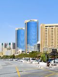 Skyscrapers along the Creek in Dubai in the United Arab Emirates royalty free stock photos