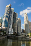 Skyscrapers along Singapore River. Royalty Free Stock Photos