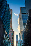 Skyscrapers along 51st Street in Midtown Manhattan, New York. Royalty Free Stock Photos