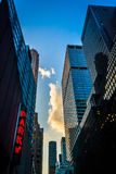 Skyscrapers along 51st Street in Midtown Manhattan, New York. Royalty Free Stock Photo