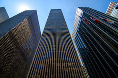 Skyscrapers along 6th Avenue in Midtown Manhattan. Royalty Free Stock Photo