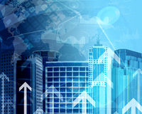 Skyscrapers with background of graphs and arrows. Skyscrapers with the background of graphs and arrows. Concept growth in business Stock Photos