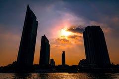 Skyscrapers in Bangkok at sunset Royalty Free Stock Image