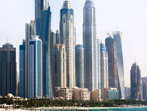 Skyscrapers on the beach in Dubai.  Stock Photography