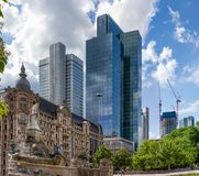 Skyscrapers behind a Fountain in an Urban Area of a Modern City Stock Images